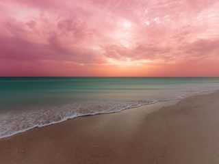 EL cuyo Yucatan beach with pink sky