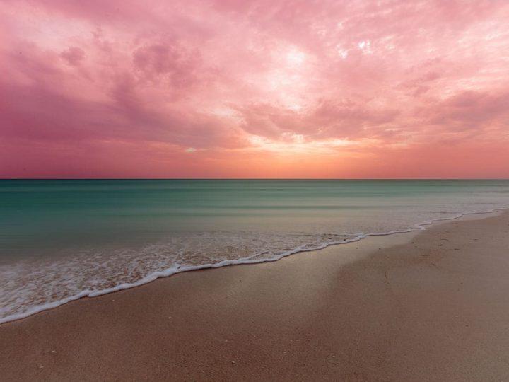 EL cuyo Yucatan beach with pink sky