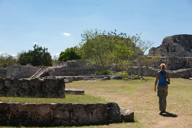 ME walking away in the archeological site of Labna yucatan