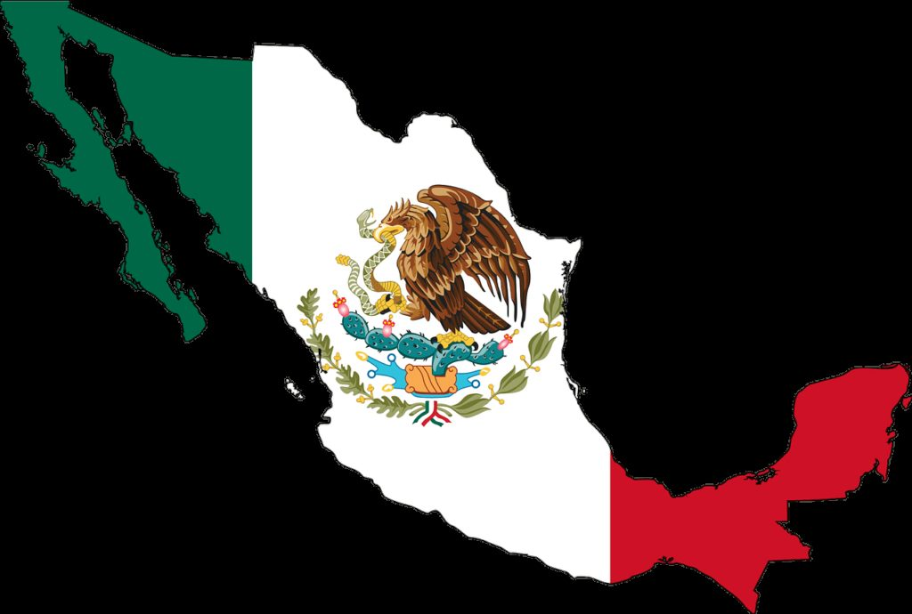mexico, flag, map