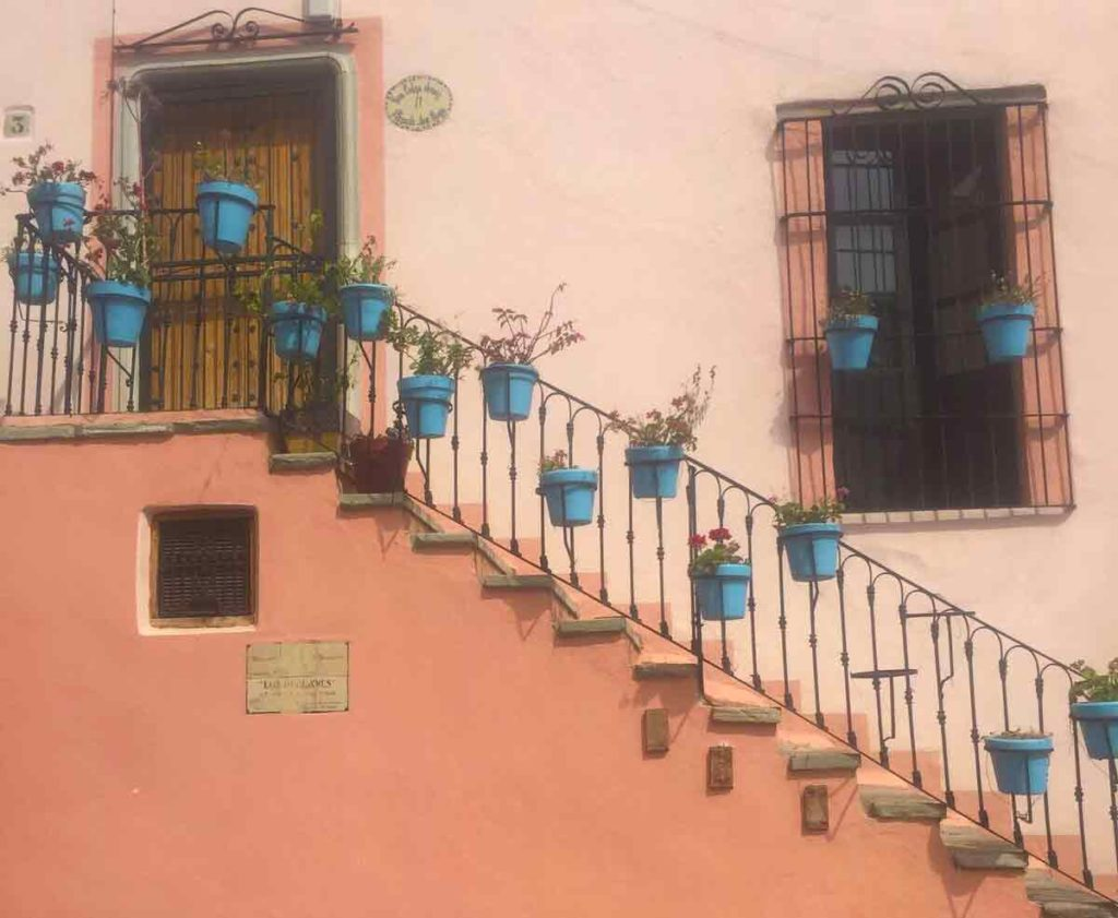 balcony with flower vases on a pink wall in guanajuato