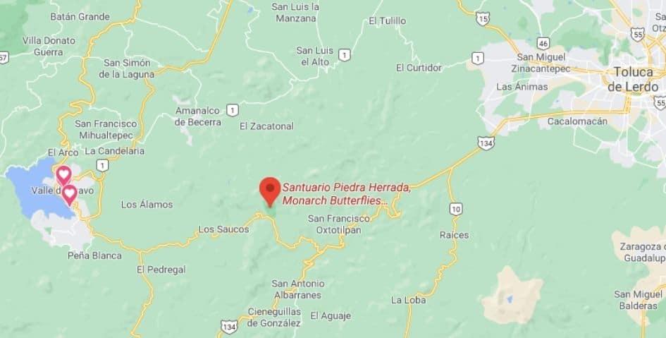 Monarca buttefly sanctuary map