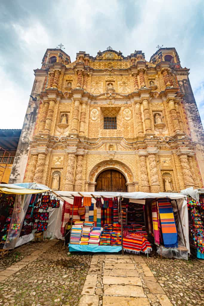 Church Facade with markets stalls in front