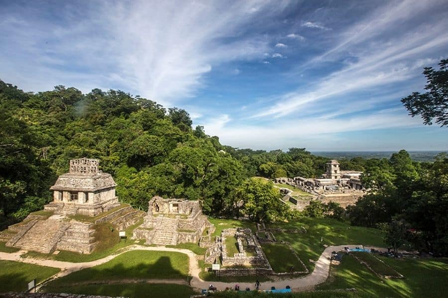Palenque archeological site in a tropical forest