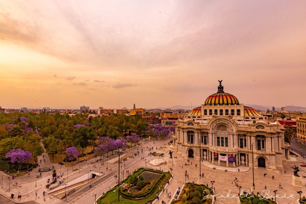 Bella Artes museum aereal view in Mexico city
