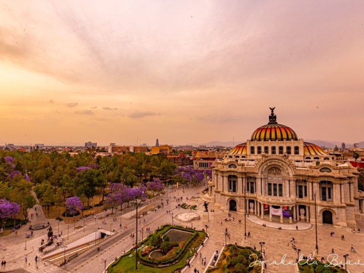 Bella Artes museum aereal view in Mexico city - is mexico city safe