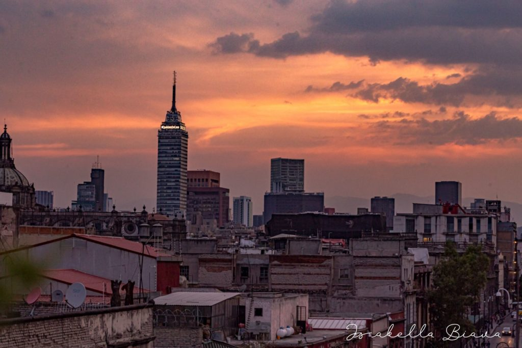 TORRE LATINO AMERICANA VIEW FROM A ROOF TOP AT SUNSET