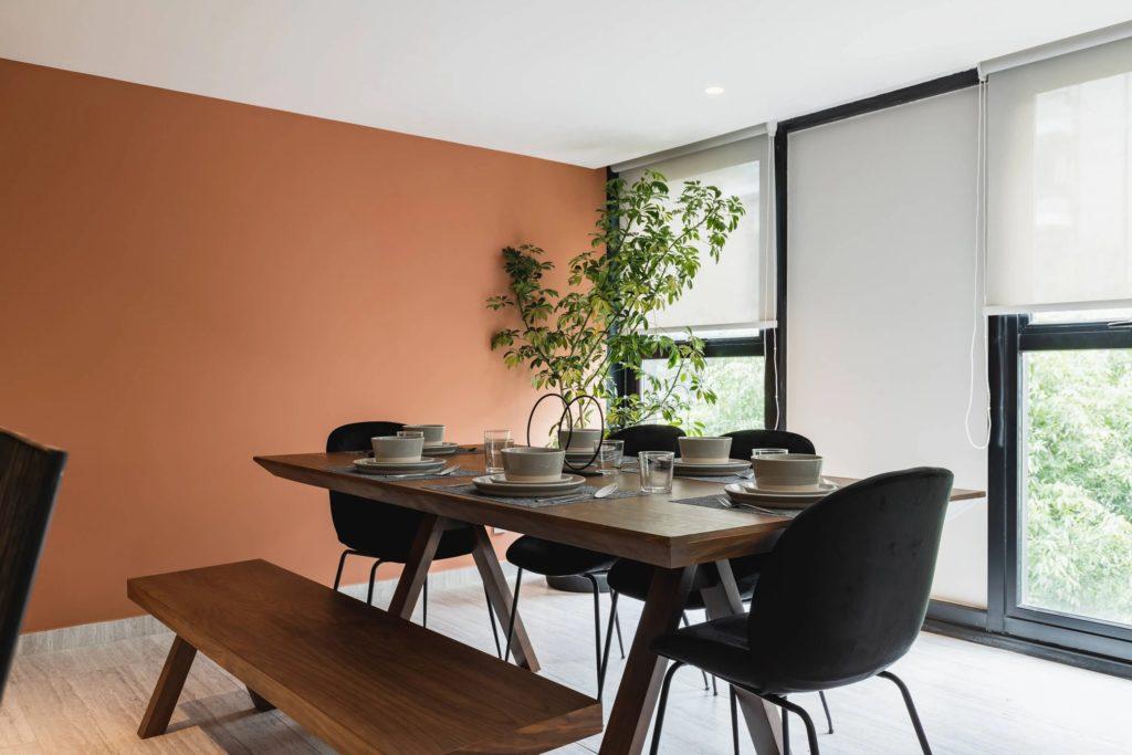 set table in a livingroom