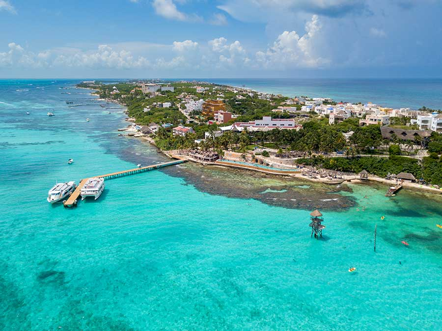 Isla mujeres island air view