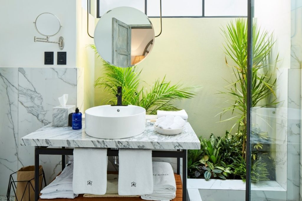 bathroom with plants and marmol sink