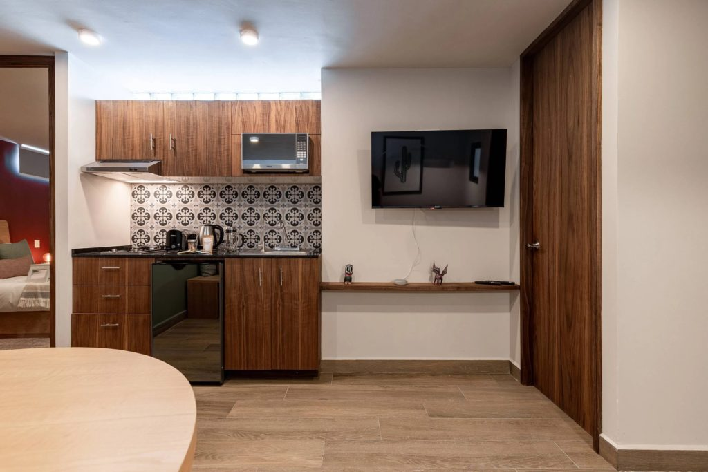 kitchen with tiles on the wall