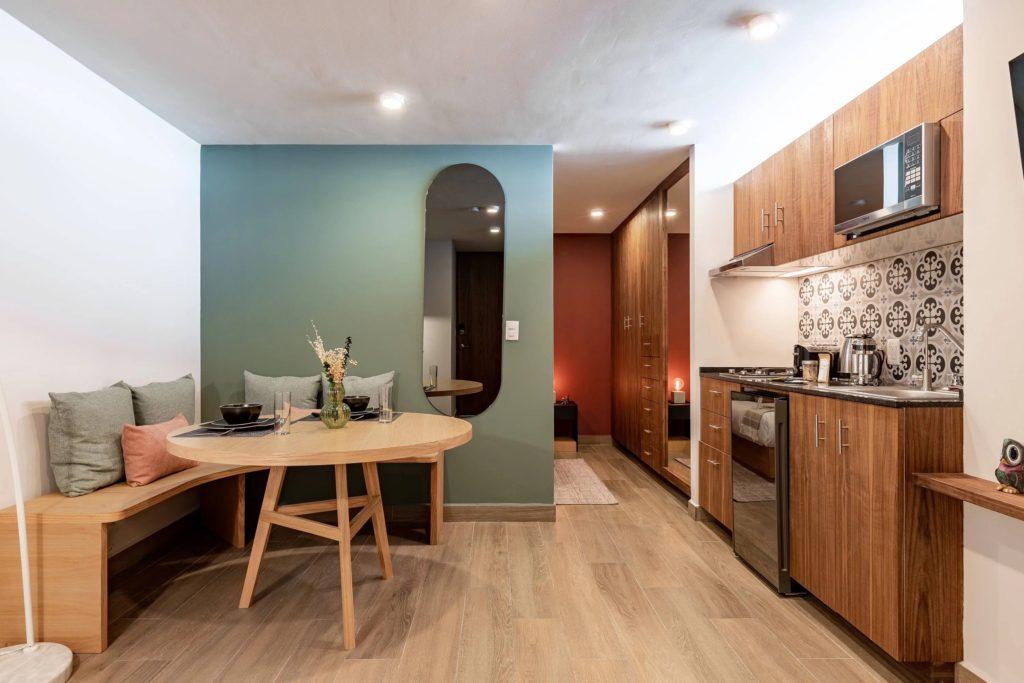 luxury studio with green walls