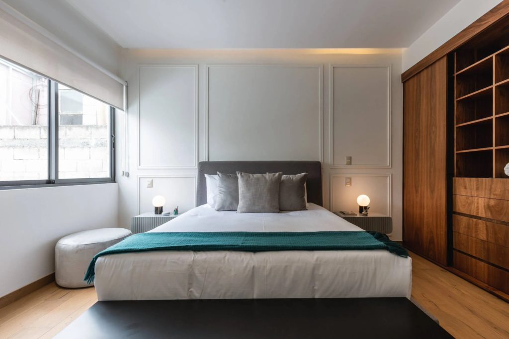 Luxury bed with a green footer