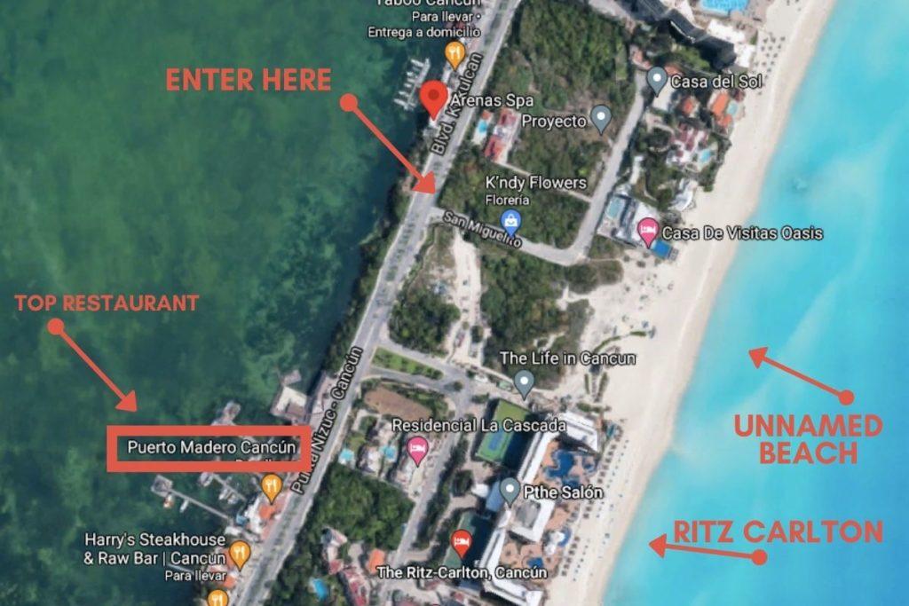 beach map in cancun