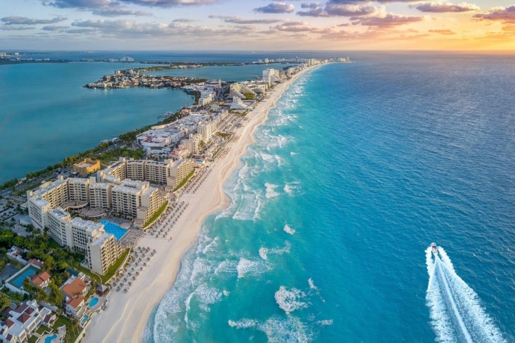 aerial view of a coast in cancun