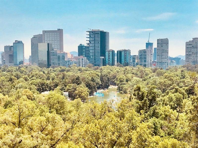 Mexico city chapultepec park aerial view