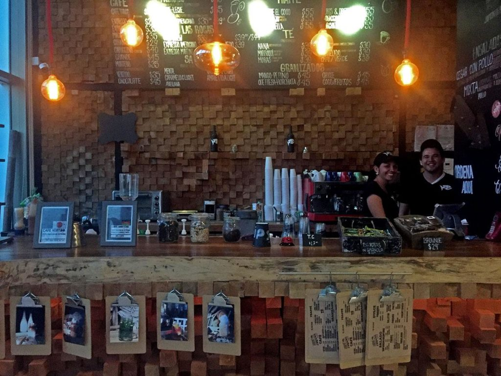 bar waitress behind the bar