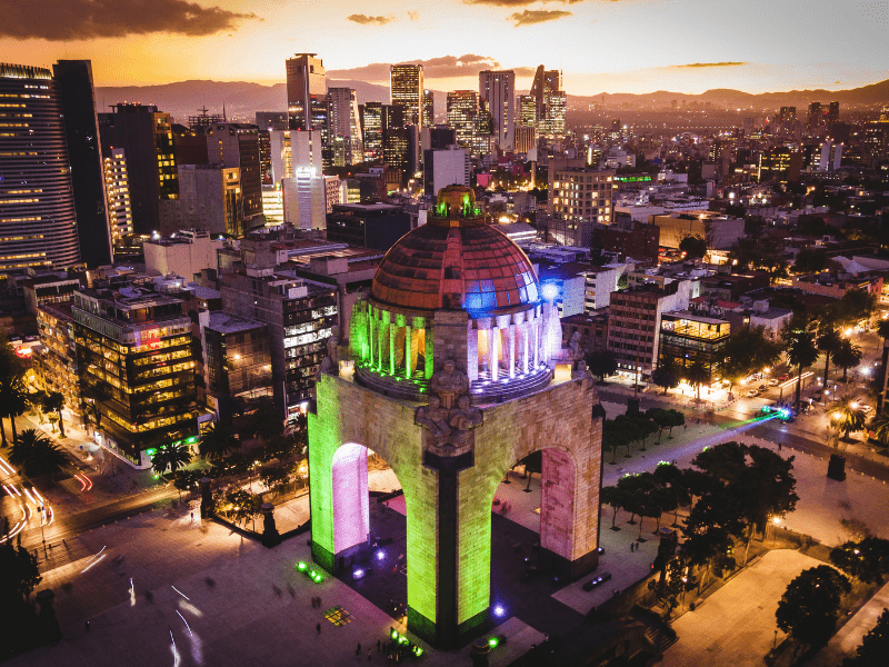 monument in mexico city aerial view