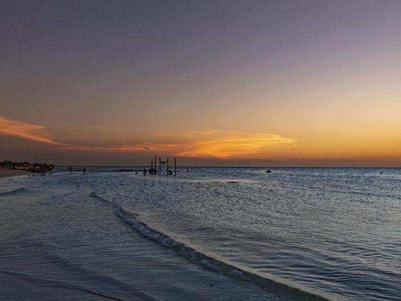 san pancho beach in riviera nayarit at sunset