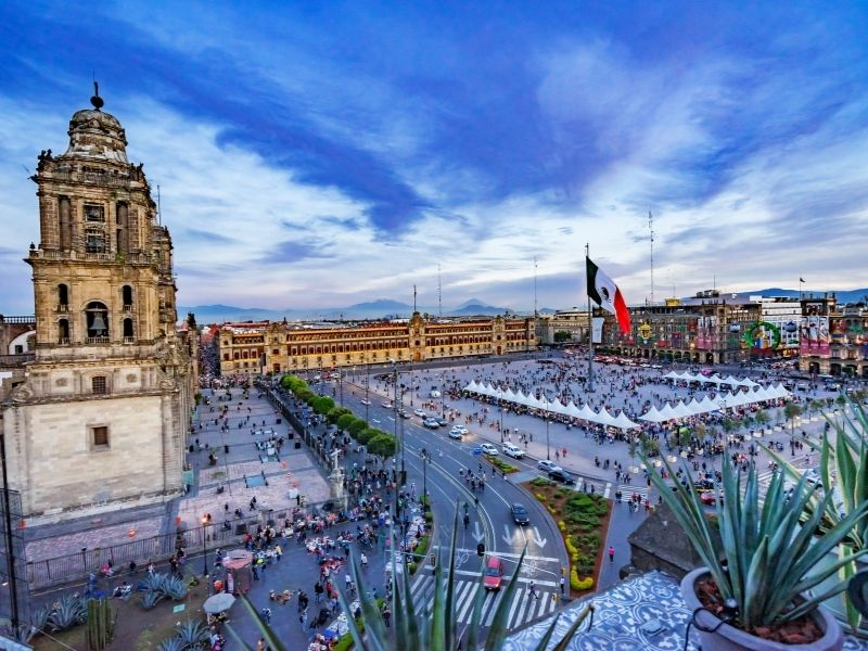 zocalo CDMX from a roof top view