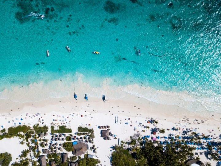 Tulum beach aerial view