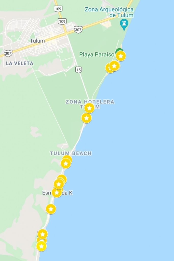 Tulum beach clubs map
