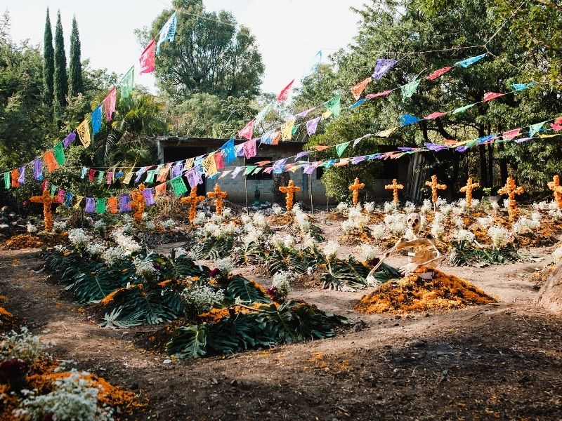 Day of the dead in a cemetery