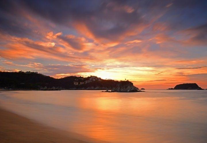 sunrise from a bay in Huatulco