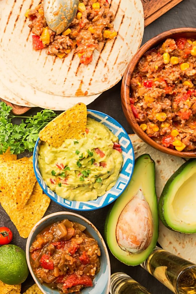 Mexican dishes and avocado