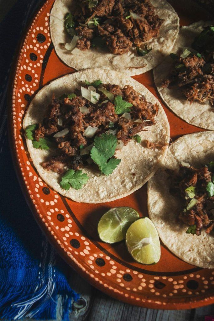 Mexican tacos in a typical plate