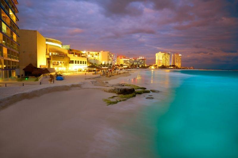 Cancun beach hotel by night