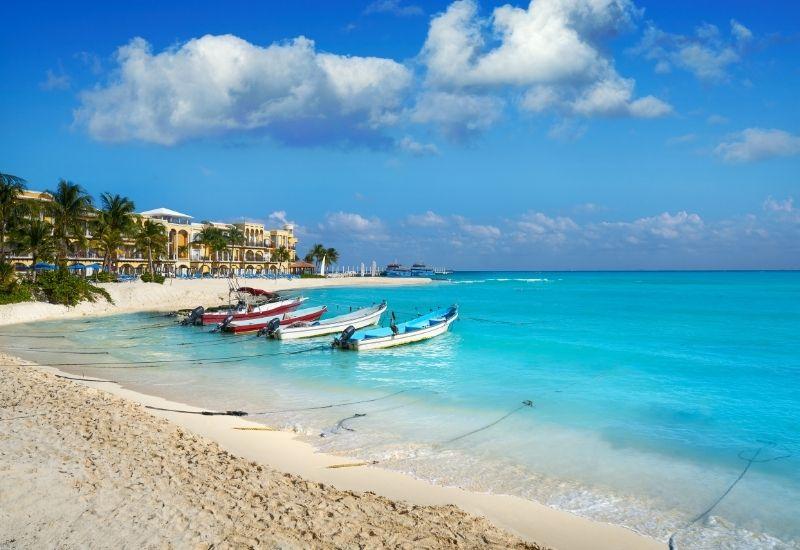 Playa del Carmen boats on the beach