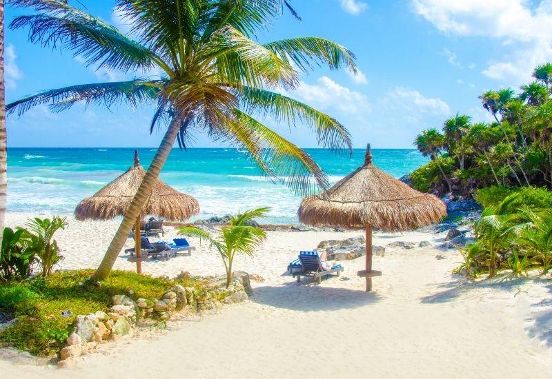 Tulum beach umbrellas