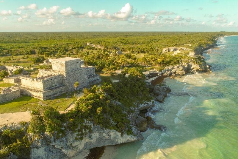 Mayan ruins in Tulum aerial view