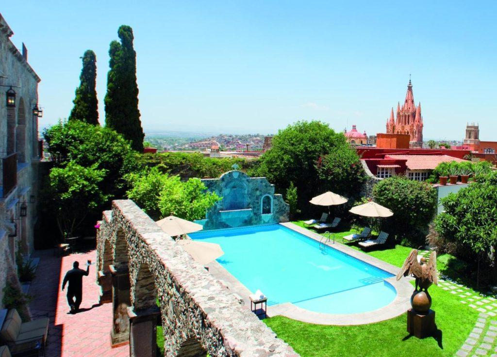 Belmond hotel in San Miguel de Allende pool overview