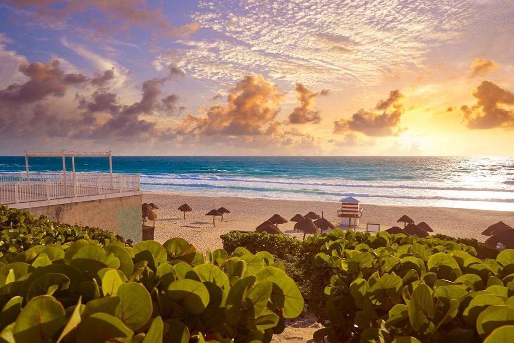 Cancun beach sunrise