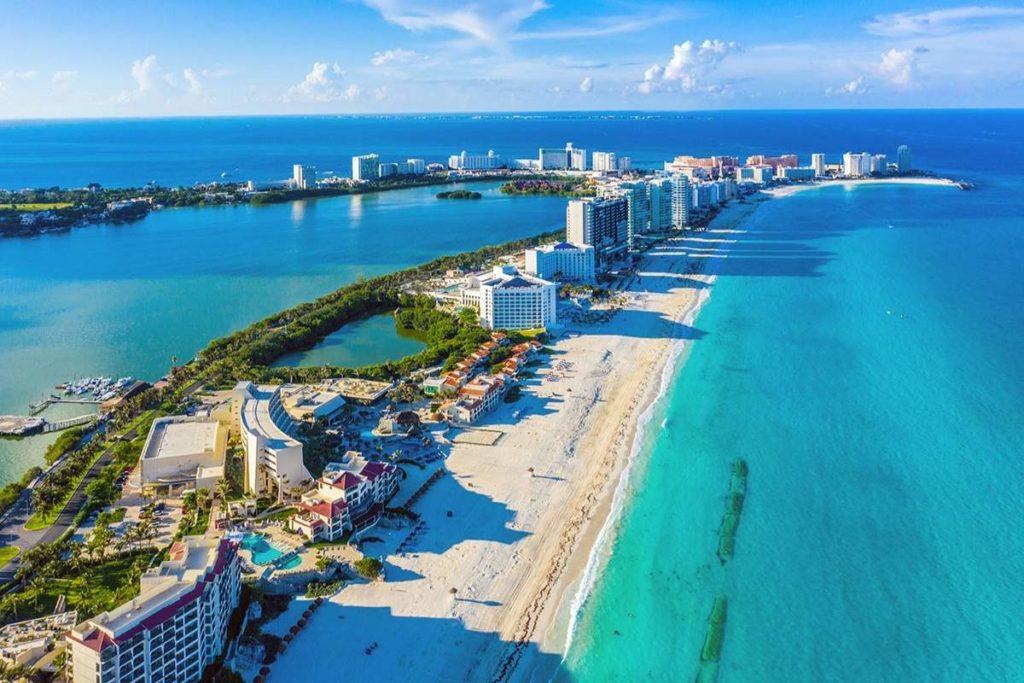 Lagoon in Cancun Aerial View